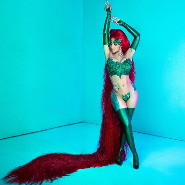 Cardi B bares it all in sexy Poison Ivy costume for Halloween along with nearly 7-foot-long wig (Photos)